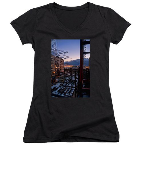 End Of The Day Women's V-Neck T-Shirt (Junior Cut) by Steve Sahm