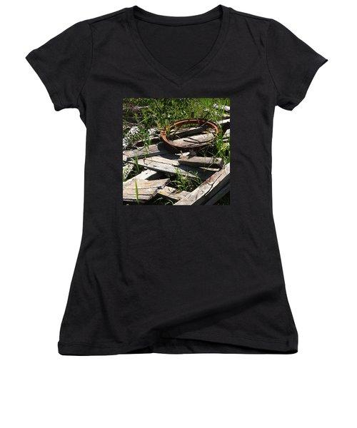 Women's V-Neck T-Shirt (Junior Cut) featuring the photograph End Of The Line by Meghan at FireBonnet Art