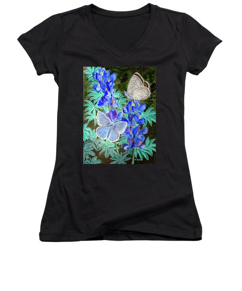 Endangered Mission Blue Butterfly Women's V-Neck T-Shirt (Junior Cut) by Mike Robles