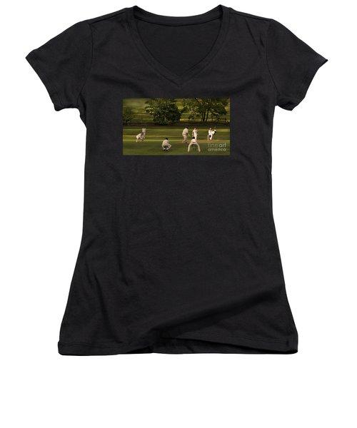 English Village Cricket Women's V-Neck T-Shirt