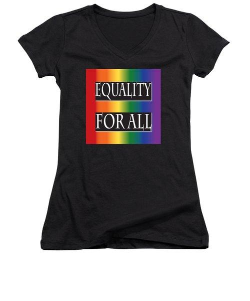 Equality Rainbow Women's V-Neck T-Shirt (Junior Cut) by Jamie Lynn