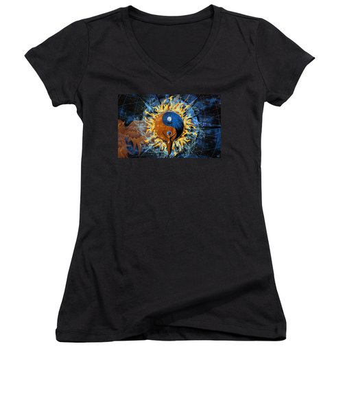 Women's V-Neck featuring the digital art Equilibria by Kenneth Armand Johnson