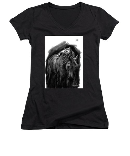 Women's V-Neck T-Shirt (Junior Cut) featuring the drawing Equine 1 by Paul Davenport