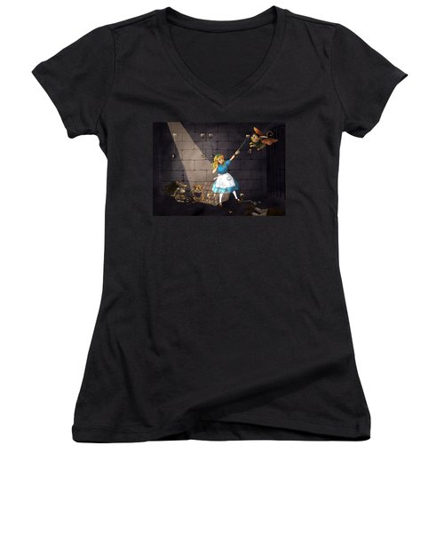 Women's V-Neck T-Shirt (Junior Cut) featuring the painting Escape by Reynold Jay