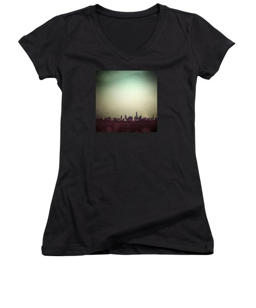Escaping The City Women's V-Neck T-Shirt (Junior Cut) by Trish Mistric