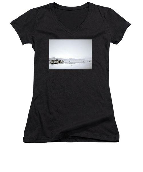 Ethereal Mono Lake Women's V-Neck T-Shirt (Junior Cut) by Shaun Higson