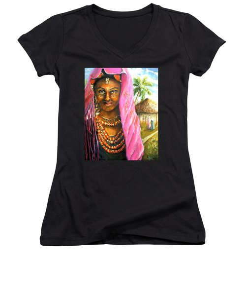 Women's V-Neck T-Shirt (Junior Cut) featuring the painting Ethiopia Bride by Bernadette Krupa