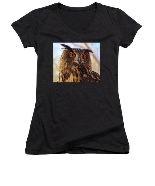 Women's V-Neck T-Shirt (Junior Cut) featuring the photograph Eurasian Eagle Owl by Cynthia Guinn