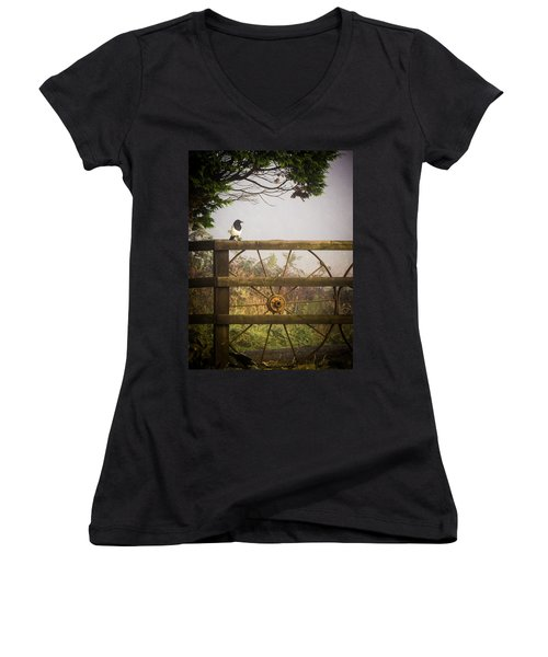 Eurasian Magpie In Morning Mist Women's V-Neck