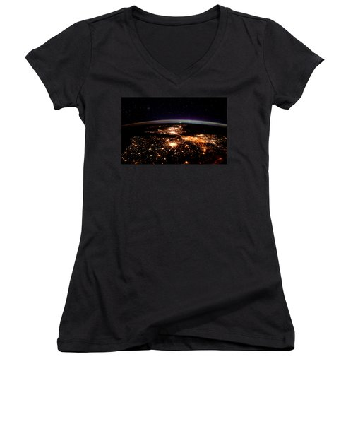 Women's V-Neck T-Shirt (Junior Cut) featuring the photograph Europe At Night, Satellite View by Science Source