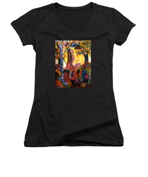 Eve In The Garden Women's V-Neck T-Shirt
