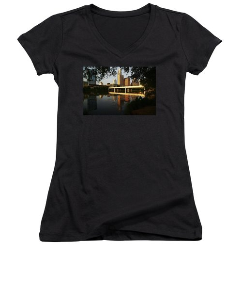 Evening Along The River Women's V-Neck T-Shirt (Junior Cut) by Dave Files