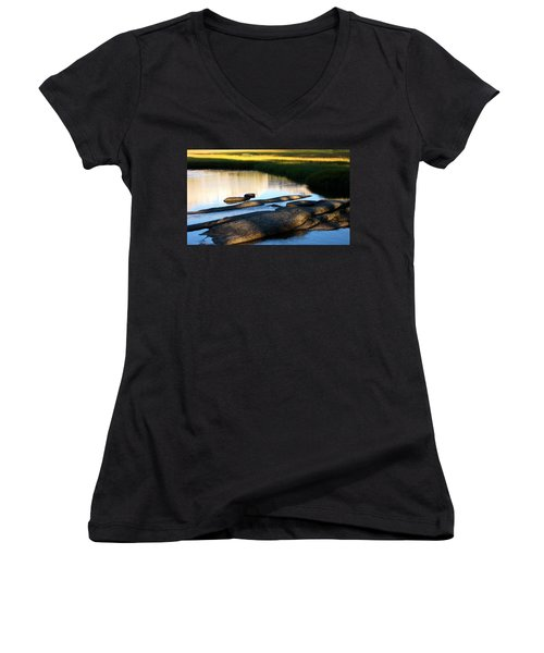 Contemplating Sunset Women's V-Neck (Athletic Fit)