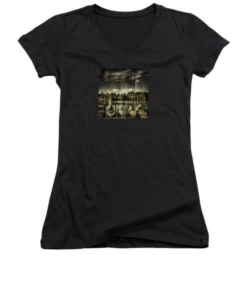 Women's V-Neck T-Shirt (Junior Cut) featuring the photograph Evening Mood by Jean OKeeffe Macro Abundance Art