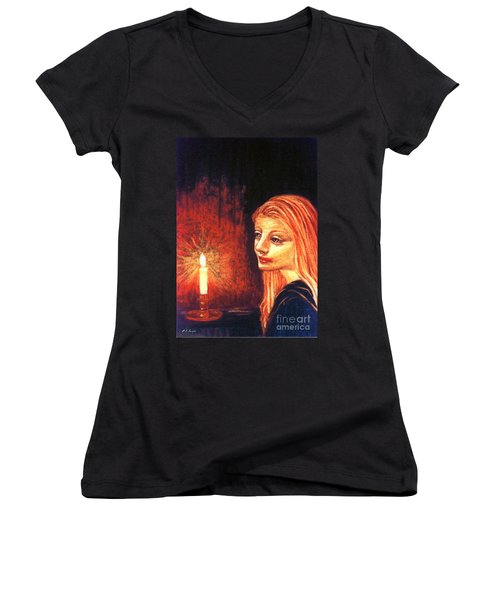 Women's V-Neck T-Shirt (Junior Cut) featuring the painting Evening Prayer by Jane Small
