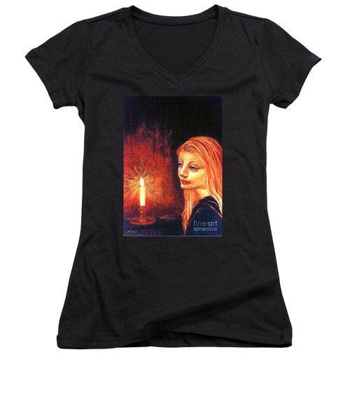 Evening Prayer Women's V-Neck T-Shirt (Junior Cut) by Jane Small