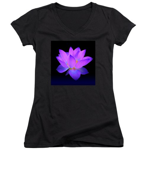 Evening Purple Lotus  Women's V-Neck T-Shirt (Junior Cut) by David Dehner