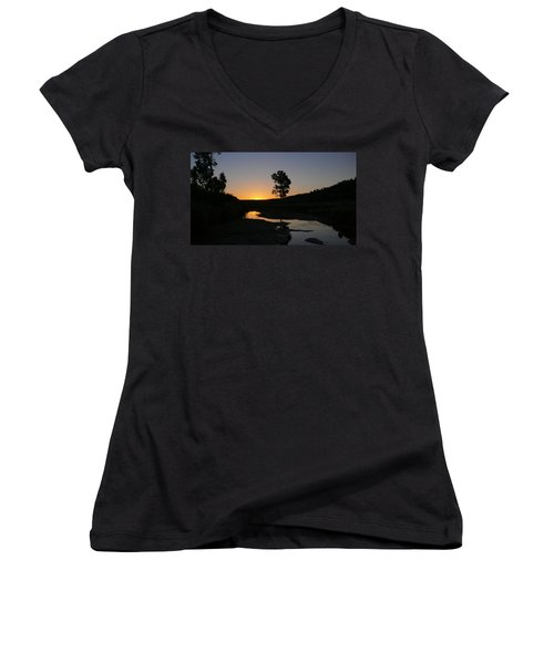 Women's V-Neck T-Shirt (Junior Cut) featuring the photograph Evening Wonderland by Evelyn Tambour