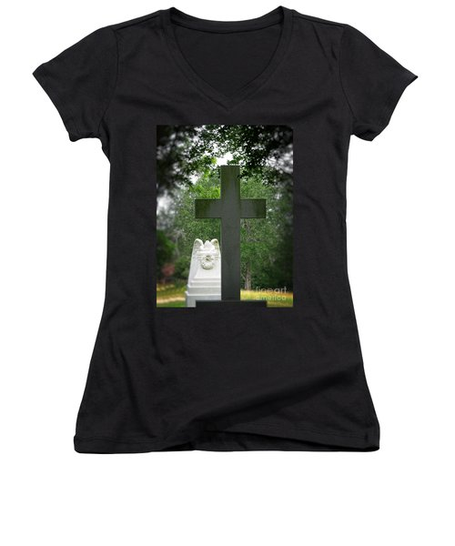 Women's V-Neck T-Shirt (Junior Cut) featuring the painting Every Knee Shall Bow by Ella Kaye Dickey