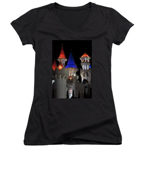 Women's V-Neck T-Shirt (Junior Cut) featuring the photograph Excalibur Casino After Midnight by Ivete Basso Photography