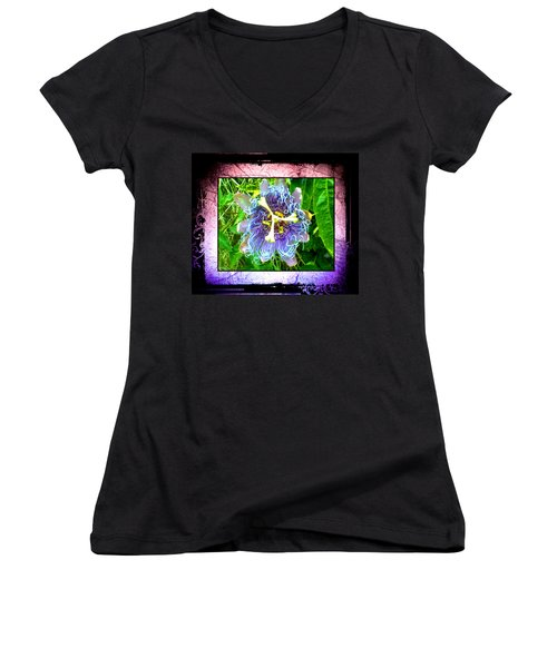 Exotic Strange Flower Women's V-Neck T-Shirt (Junior Cut) by Absinthe Art By Michelle LeAnn Scott