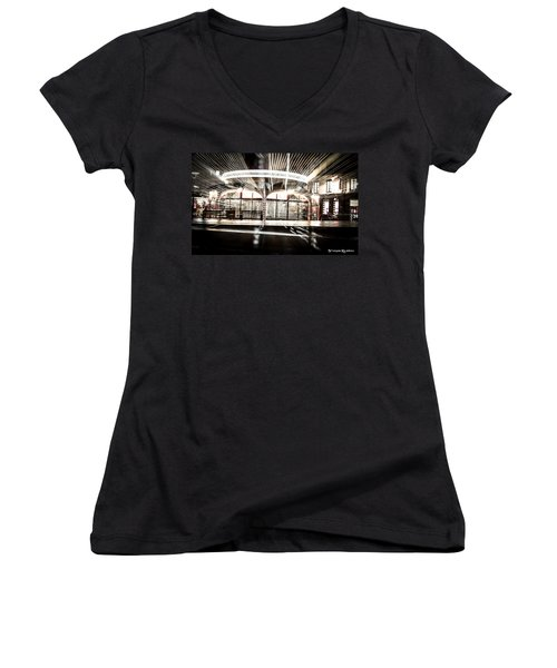 Women's V-Neck featuring the photograph Explozoom On A French Carousel by Stwayne Keubrick