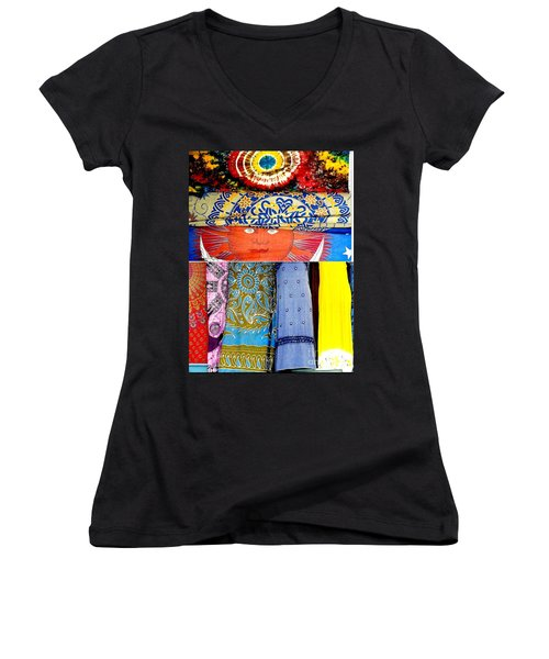 Women's V-Neck T-Shirt (Junior Cut) featuring the photograph New Orleans Eye See Fabric In Lifestyles by Michael Hoard