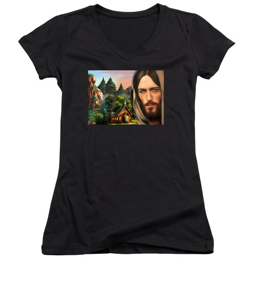 Women's V-Neck T-Shirt (Junior Cut) featuring the painting Eyes Of Love And Compassion 2 by Karen Showell