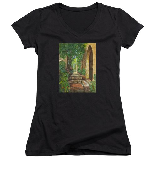 Eze Village Women's V-Neck T-Shirt (Junior Cut) by Alika Kumar