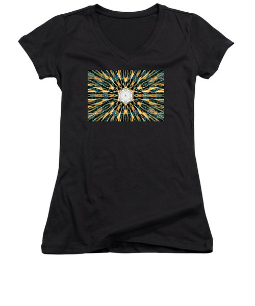 Women's V-Neck T-Shirt (Junior Cut) featuring the drawing Fabric Of The Universe by Derek Gedney