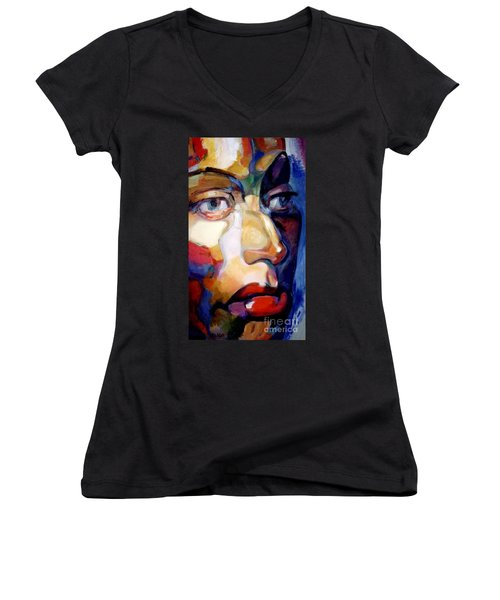 Face Of A Woman Women's V-Neck (Athletic Fit)