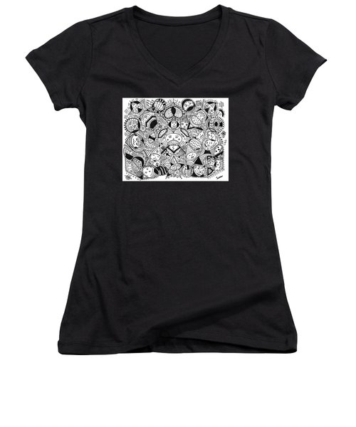 Women's V-Neck T-Shirt (Junior Cut) featuring the painting Faces In The Crowd by Susie Weber