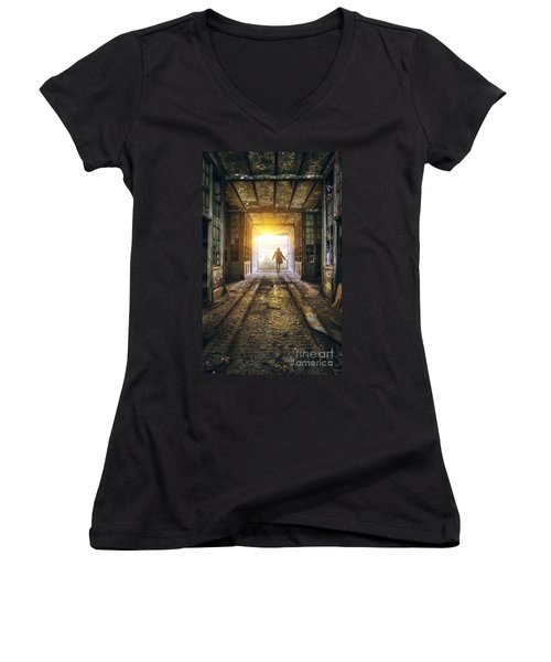 Factory Chase Women's V-Neck T-Shirt (Junior Cut) by Carlos Caetano