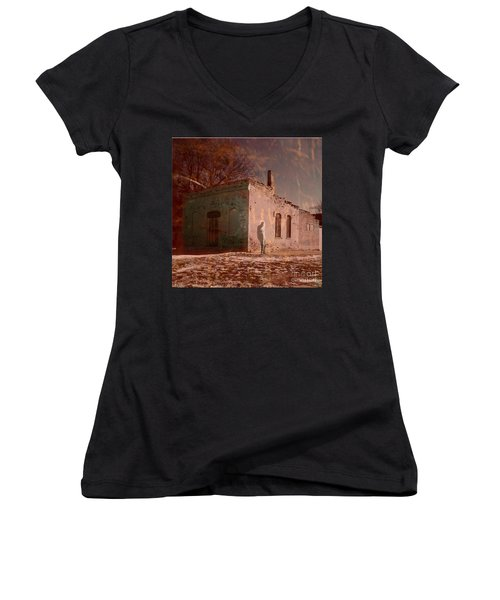 Faded Memories Women's V-Neck T-Shirt (Junior Cut) by Desiree Paquette
