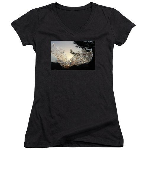 Women's V-Neck T-Shirt (Junior Cut) featuring the photograph Faerie Wings by Katie Wing Vigil