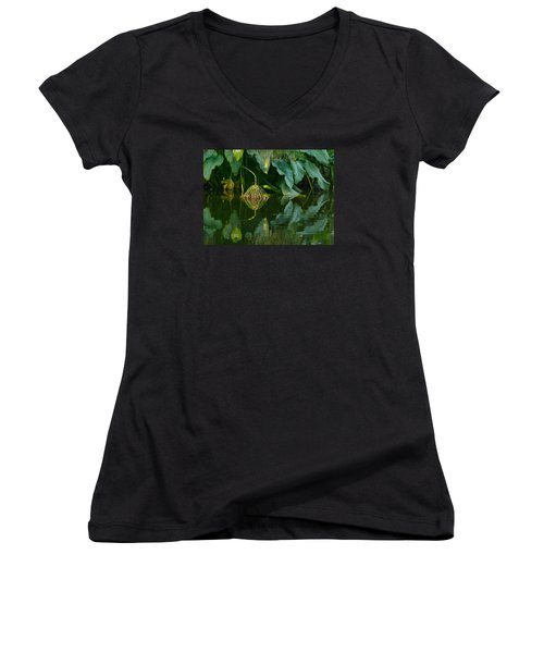 Women's V-Neck T-Shirt (Junior Cut) featuring the photograph Fairy Pond by Evelyn Tambour