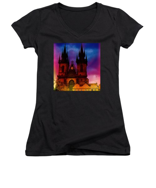 Fairy Tale Castle Prague Women's V-Neck (Athletic Fit)