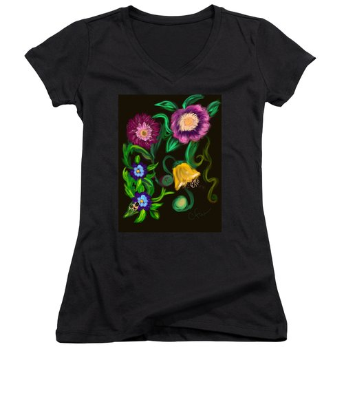 Fairy Tale Flowers Women's V-Neck T-Shirt (Junior Cut) by Christine Fournier