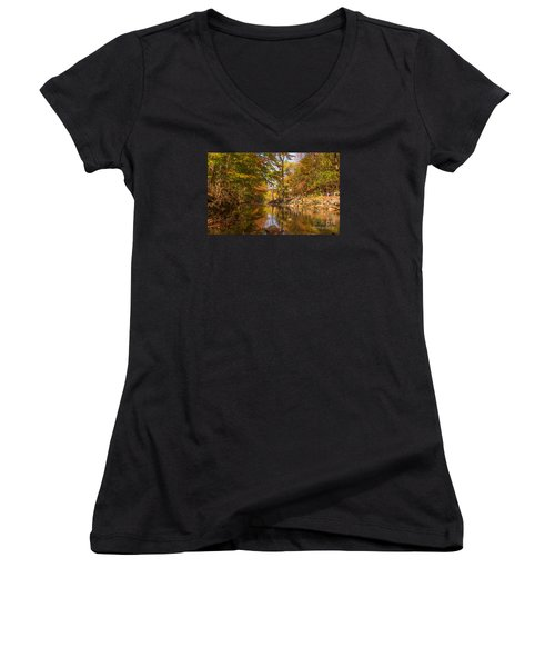 Women's V-Neck T-Shirt (Junior Cut) featuring the photograph Fall At Valley Creek  by Rima Biswas