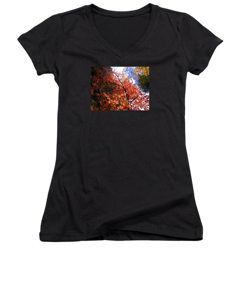 Fall Colors 6340 Women's V-Neck T-Shirt (Junior Cut) by En-Chuen Soo