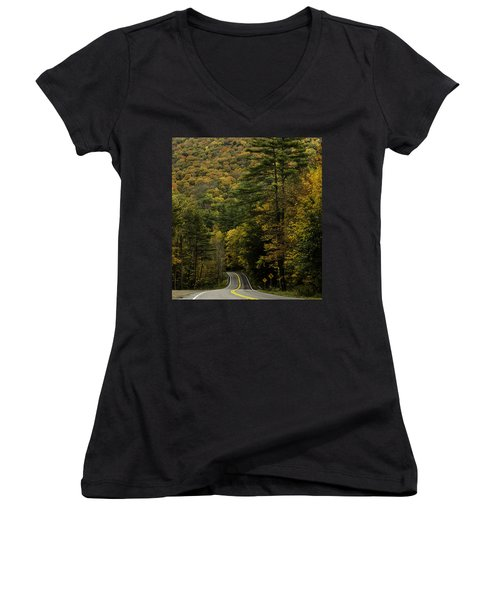 Fall Colors On Mohawk Trail Near Charlemont Women's V-Neck T-Shirt