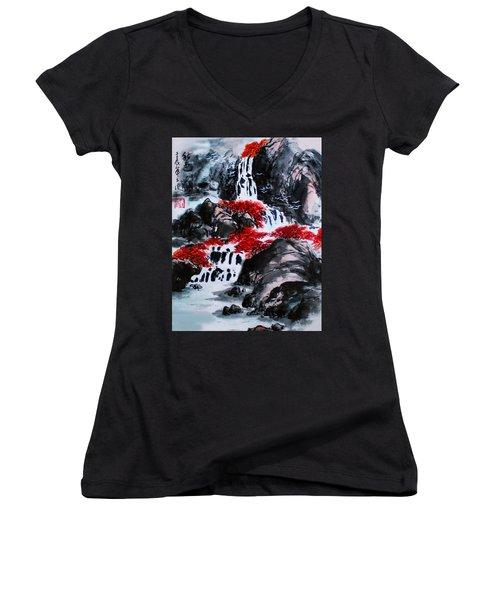 Women's V-Neck T-Shirt (Junior Cut) featuring the photograph Fall Colors by Yufeng Wang