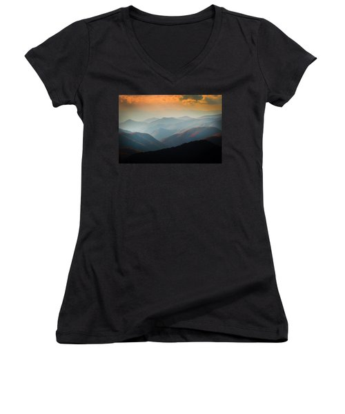 Fall Foliage Ridgelines Great Smoky Mountains Painted  Women's V-Neck (Athletic Fit)