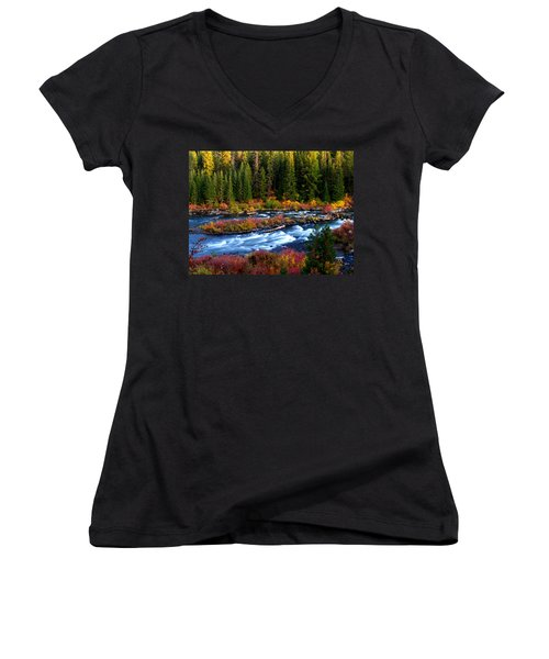 Women's V-Neck T-Shirt (Junior Cut) featuring the photograph Fall On The Deschutes River by Kevin Desrosiers