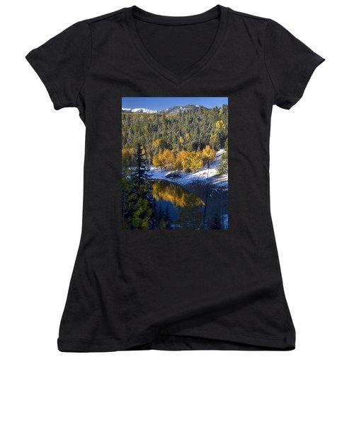 Fall Reflections On Bobcat Pass Women's V-Neck T-Shirt