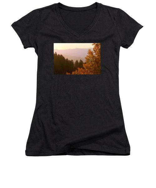 Fall Smoky Mountains Women's V-Neck T-Shirt (Junior Cut) by Melinda Fawver