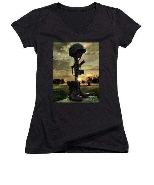 Fallen Soldiers Memorial Women's V-Neck (Athletic Fit)