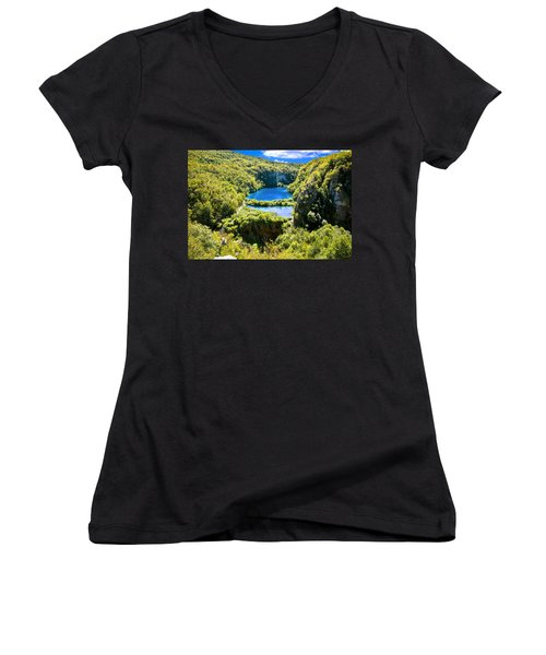Falling Lakes Of Plitvice National Park Women's V-Neck T-Shirt (Junior Cut) by Brch Photography