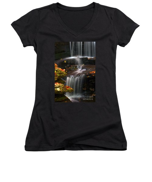 Falls And Fall Leaves Women's V-Neck