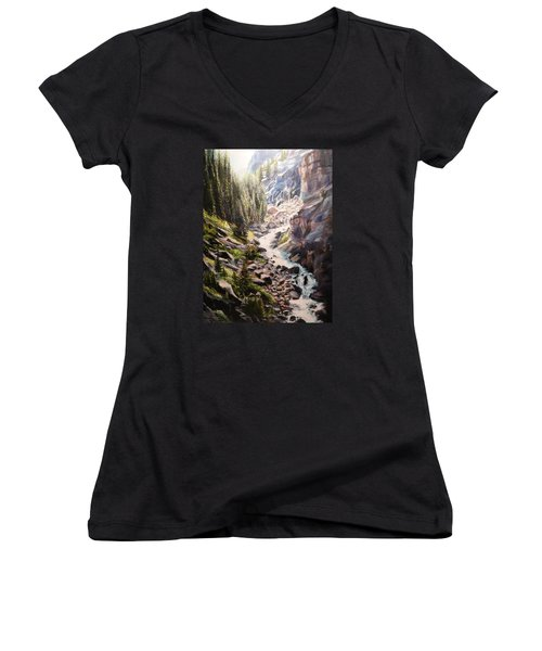 Falls Below Rimrock Lake Women's V-Neck (Athletic Fit)